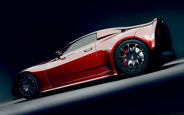 click to free download the wallpaper--Red Supercar Wallpaper, Great Car with Smooth Lines, Gray and Glowing Body