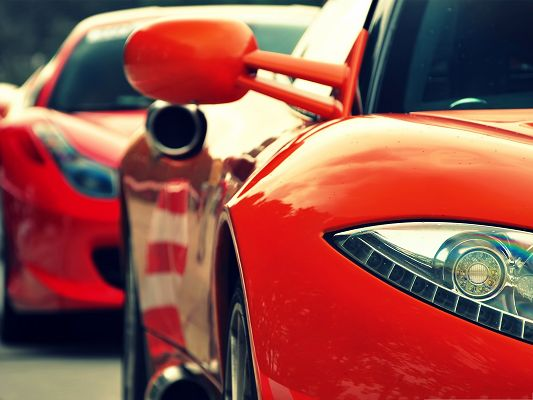 click to free download the wallpaper--Red Supercars Image, a Line of Supercars, Shall Attract the Most Attention