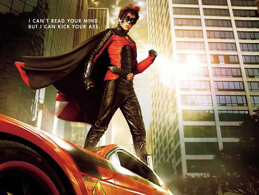 click to free download the wallpaper--RedMist Kick Ass Movie Post in 1600x1200 Pixel, Red Cape is Flying in the Wind, Standing on a Car, He is a Good Fit - TV & Movies Post
