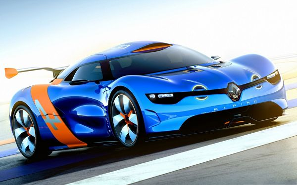 click to free download the wallpaper--Renault Alpine Concept Car, the Blue Super Car in the Run, Great in Look