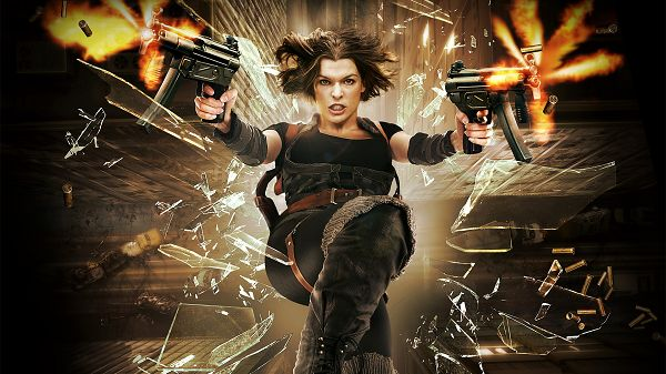 click to free download the wallpaper--Resident Evil Afterlife Available in 1920x1080 pixel, Lady Holding Two Guns, Trying to Escape the Dangerous Place - TV & Movies Wallpaper