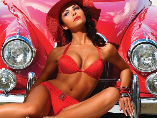 click to free download the wallpaper--Retro Girl Image, Beautiful Girl in Red Bikini, in Front of Red Super Car