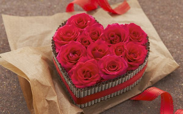 Romantic Flowers Picture, a Box of Red Roses, the Best Gift on Valentine's Day