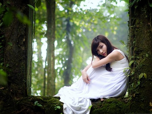 click to free download the wallpaper--Romantic Girl Image, Beautiful Girl in Long White Dress, Dreamy Scene
