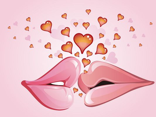 click to free download the wallpaper--Romantic Love Background, Two Kissing Lips, Flying Hearts, Light Pink Background