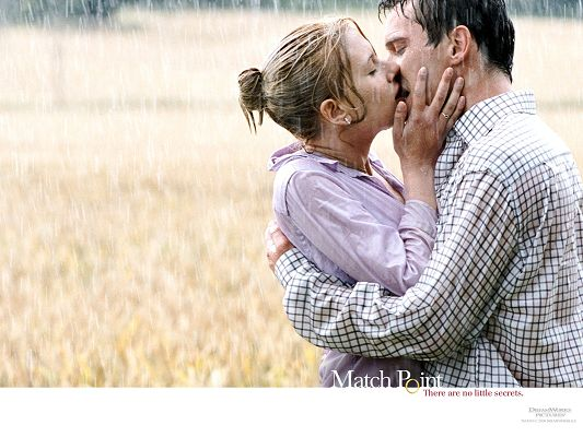 Romantic Scene of TV & Movies, Kissing in the Field, Heavy Rain Falling, Nothing Shall Bother