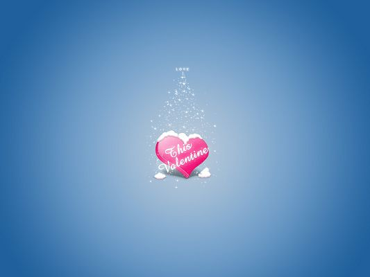 click to free download the wallpaper--Romantic Wallpaper, Pink Heart On Light Blue Background, Happy Valentine's Day!