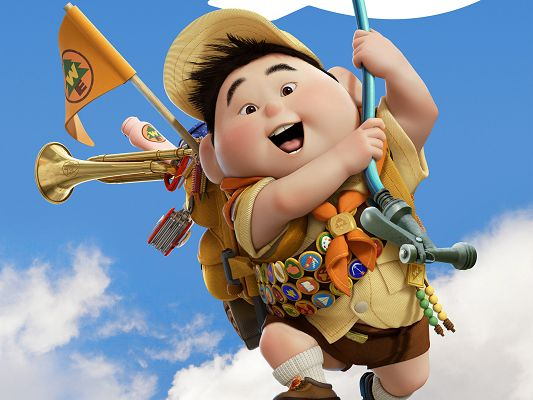 click to free download the wallpaper--Russell Boy in Pixar's UP in 1920x1440 Pixel, Boy in Excited Facial Expression, His Happiness Can be Quite Infectious - TV & Movies Post