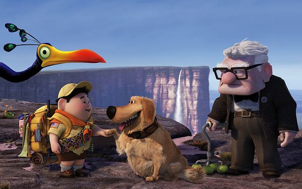 click to free download the wallpaper--Russell Dug Carl Fredricksen in Pixar's UP in 1440x900 Pixel, All Men in Great Relationship, It is an Impressive and Harmonious Scene - TV & Movies Post