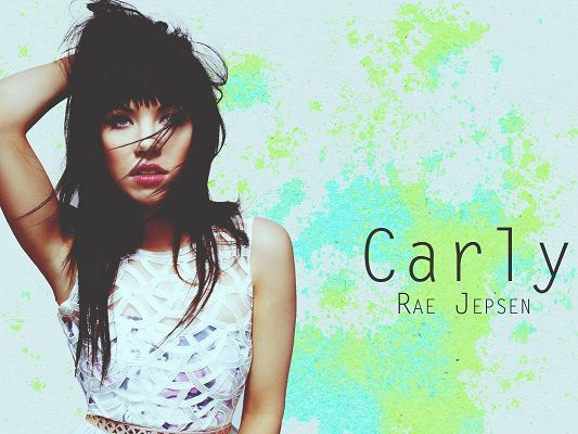 click to free download the wallpaper--Sad Carly Rae Jepsen, in White Dress and Gloomy Look, Dancing Black Hair