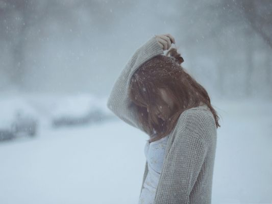 Sad Girl in Winter, Flying Snow Around the Beautiful Girl, Are You Cold?