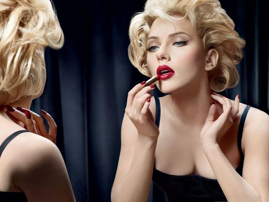 Scarlett Johansson Posts, Young Lady in Red Lipstick, Making Up for Herself