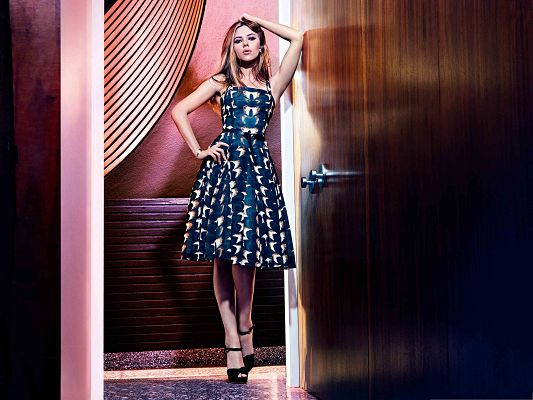 click to free download the wallpaper--Scarlett Johansson the Honorable, Long Blue Dress, Standing in Front of the Door