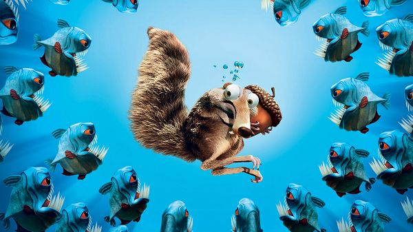 Scrat in Ice Age Post in 1920x1080 Pixel, Scrat is in the Center of Fishes with Sharp Teenth, Precious is Still in the Hand - TV & Movies Post