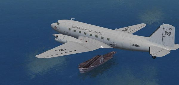 click to free download the wallpaper--Screenshot of Air Shows, US Navy Braddick DC-3TP in Flight