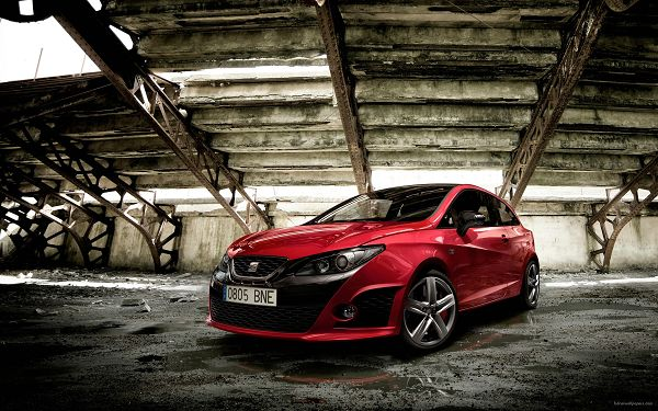 Seat Ibiza Bocanegra Post in Pixel of 2560x1600, Red Car in a Broken and Falling House, It Shall Attract the Maximum Amount of Attention - HD Cars Wallpaper