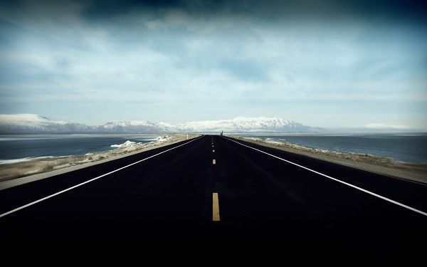 Seeing the End of the Road, White Hills Are Waiting Far Away, a Great Contrast in Vision is Made - Natural Scenery Wallpaper