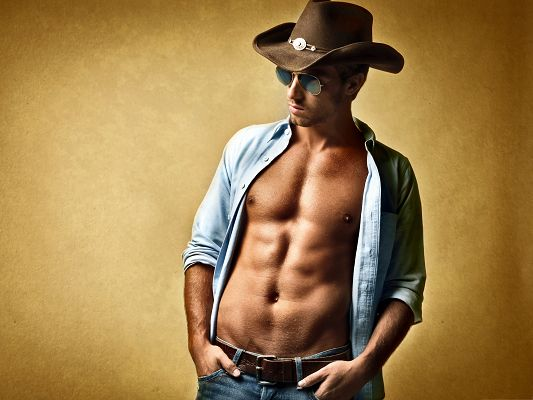 Sexy Cowboy Wallpaper, Appealing Body Figure and Nice Hat, He is Impressive