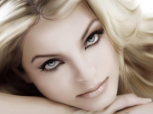 Sexy Girl Vector Art - Hot Girl in Snowy White Skin and Blonde Hair