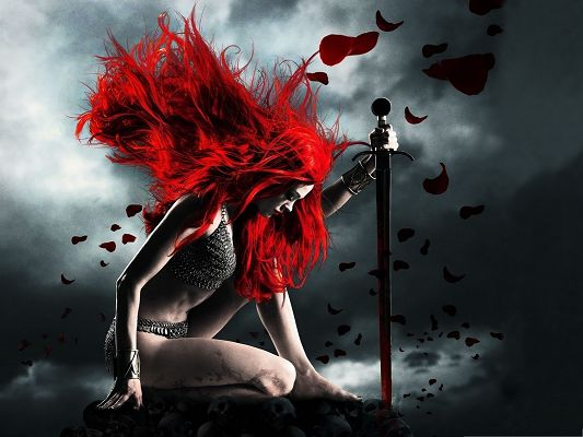 click to free download the wallpaper--Sexy Woman Wallpaper, the Appealing Warrior, Redhead Lady