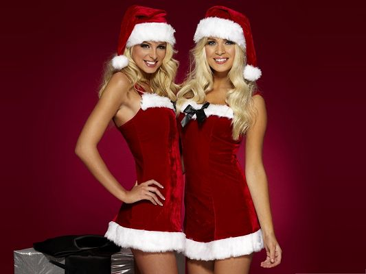 Sexy Women Wallpaper, Santa Girls Smiling, Happy on Special Holiday