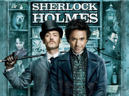 click to free download the wallpaper--Sherlock Holmes Movie Poster in Pixel of 1600x1200, Two Handsome and Cool Guys, Shall Fit Your Device Quite Well - TV & Movies Post