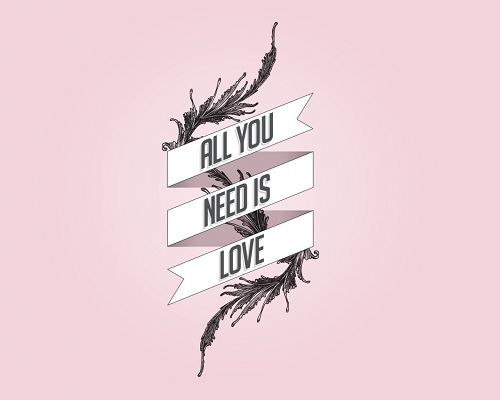 click to free download the wallpaper--Simple Impressive Post, All You Need is Love, All Letters Capitalized, Pink Background, Romantic Feel