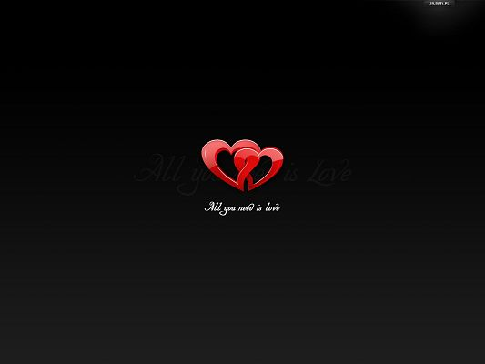 click to free download the wallpaper--Simple and Impressive Wallpaper, Two Red Hearts Running Into Each Other, Black Background, Lovely Scene