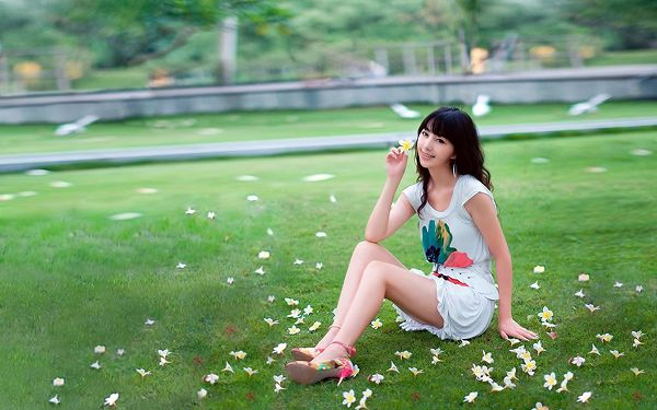 Sitting on a Green Field, Surrounded by White Flowers, Pigeons Are Flying by, What a Peaceful and Harmonious Scene! - HD Attractive Girls Wallpaper