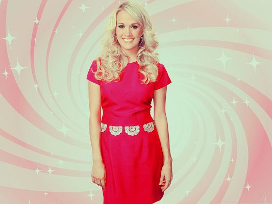 Smiling Carrie Underwood Wallpaper, in Red Long Dress, She is Indeed Hot