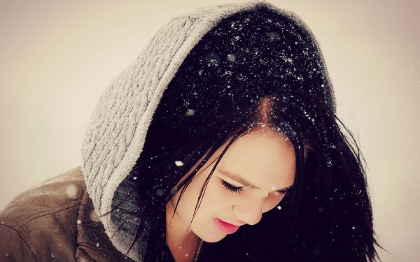 Snow All Over the Upset Girl's Head, When Will She Cheer Up and Blow Them? - High Resolution Artistic Girl Wallpaper