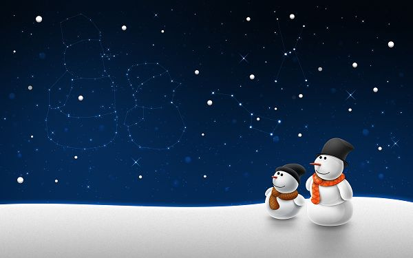 click to free download the wallpaper--Snow Man Child Post in Pixel of 2560x1600, Two Snowmen Looking at the Snowing Sky, Their Figure Are Reflected, Isn't This Amazing? - HD Natural Scenery Wallpaper