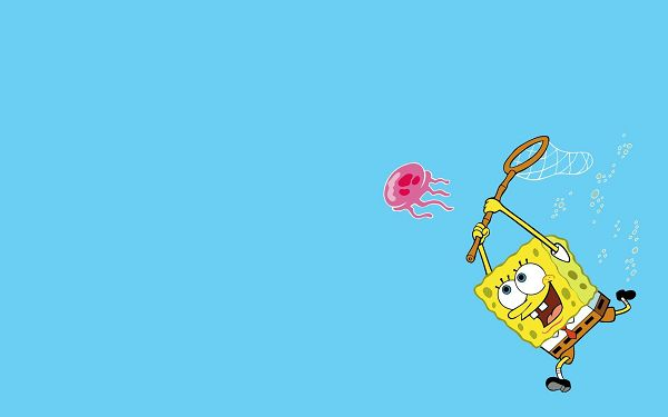 click to free download the wallpaper--SpongeBob Going After an Octopus, What a Naughty Guy! Put Against Blue Background, Things Turn out Quite Simple - HD Cartoon Wallpaper