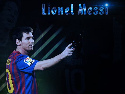 click to free download the wallpaper--Sports Super Stars Wallpaper, Lionel Messi Pointing at Success, Blue Shinning Spots
