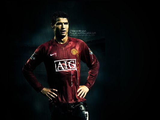 click to free download the wallpaper--Sports Wallpaper, Handsome Cristiano Ronaldo, Sweat and Effort Shall All Pay Off