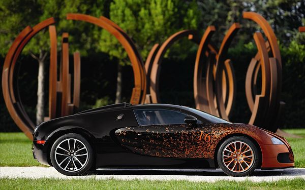click to free download the wallpaper--Standing Still, Surrounded by Scenes in the Same Color, the Perfect Place to Stay, is Indeed a Super Car - HD Bugatti Veyron Wallpaper