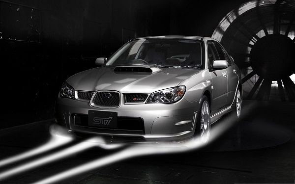 click to free download the wallpaper--Subaru Cars Wallpaper, Gray Car in Incredible Speed, Decent Look