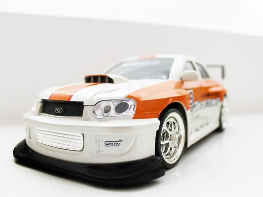 click to free download the wallpaper--Subaru Remote Control Car, White and Decent Car in the Stop, Impressive Look