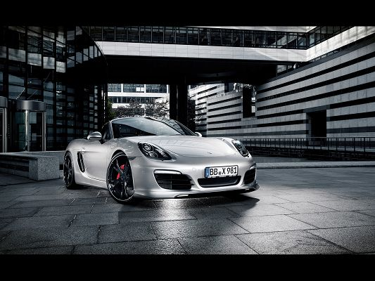 click to free download the wallpaper--Super Car Image, Porsche Boxster Seen from Front Angle, Shinning and White Bricks