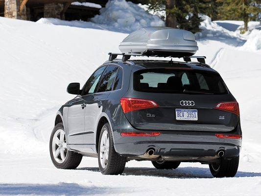 click to free download the wallpaper--Super Car Images, Black Audi Q5 in the White Snowy World, Incredible Look