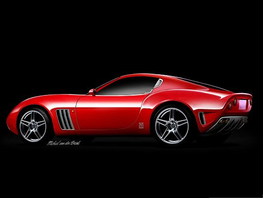 Super Car Images as Wallpaper, Red Ferrari Sport Car on Black Background