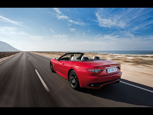 click to free download the wallpaper--Super Car Images of Maserati GranCabrio, on Straight and Endless Road, It Shall Run at Full Speed
