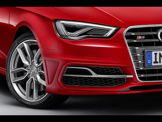 click to free download the wallpaper--Super Car Photos of Audi S3, Take a Close Look at Its Wheels and Sharp Headlights