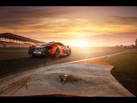 click to free download the wallpaper--Super Car Pics of McLaren P1, in Front of the Sun, It is the Rising Star