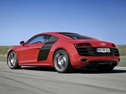 click to free download the wallpaper--Super Car Pictures, Red Audi R8 Car in Great Speed, Amazing Look