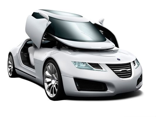 click to free download the wallpaper--Super Car Pictures, Silver Saab Car with Wide Open Doors, Incredible Look