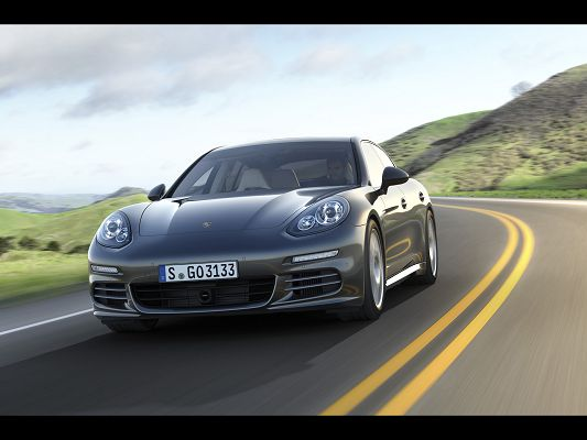 Super Car Post of Porsche Panamera, Great Car in the Run, Front Angle, Highly Impressive