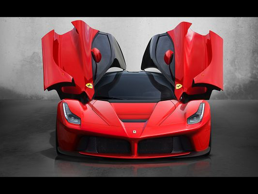 Super Car Post of Red Ferrari, Open Front Doors, Is It Going to Fly?