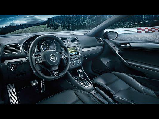 click to free download the wallpaper--Super Car Post of Volkswagen Golf R, Dashboard Shown, Clear and Easy to Read Signals