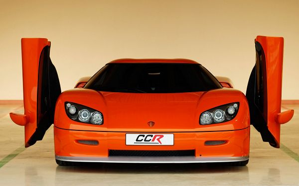click to free download the wallpaper--Super Car Wallpapers, Orange Koenigsegg CCR with Open Doors, About to Fly?